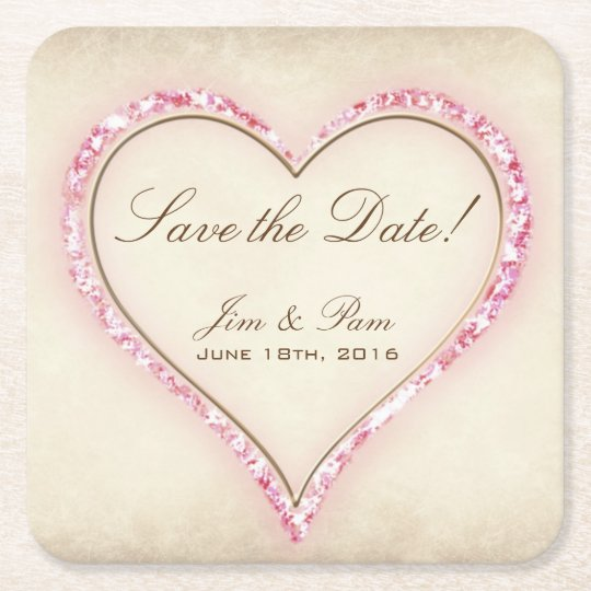 Pink Flower Heart Save the Date Square Paper