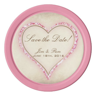 Pink Flower Heart Wedding Save the Date Poker Chips
