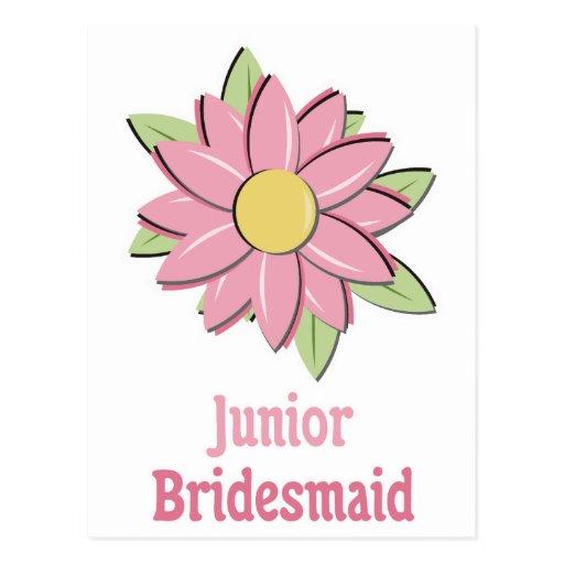Pink Flower Junior Bridesmaid Postcard