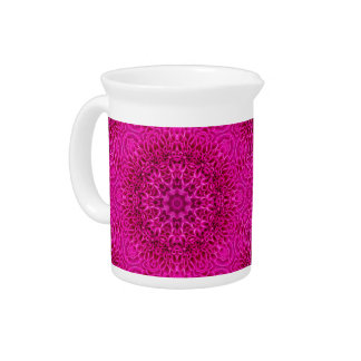 Pink Flower Kaleidoscope   Porcelain Pitchers