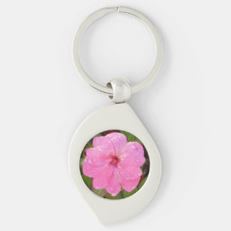 Pink Flower key chain Silver-Colored Swirl Key Ring
