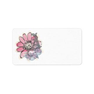 Pink Flower Label