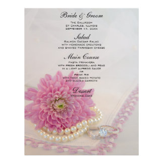 Pink Flower, Lace and Rings Wedding Menu 21.5 Cm X 28 Cm Flyer