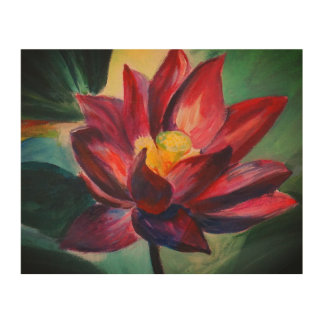 Pink flower Lotus Water Wood Wall Art Wood Canvases
