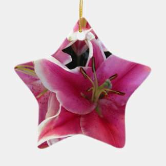 Pink flower magic christmas ornament