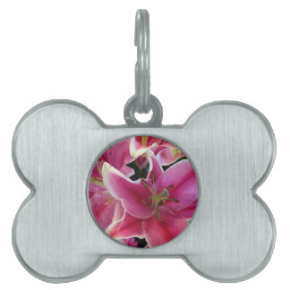 Pink flower magic pet tag
