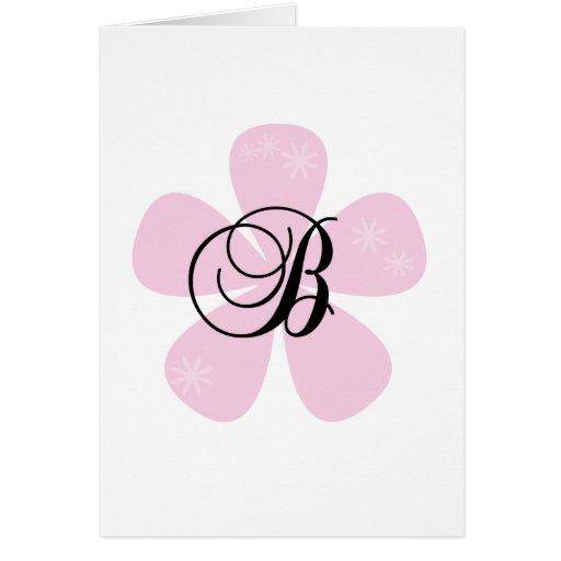 Pink Flower Monogram B Greeting Card