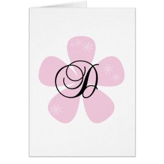 Pink Flower Monogram D Greeting Card