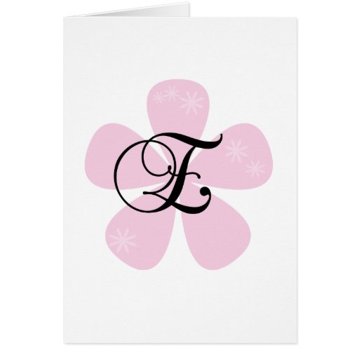 Pink Flower Monogram E Card