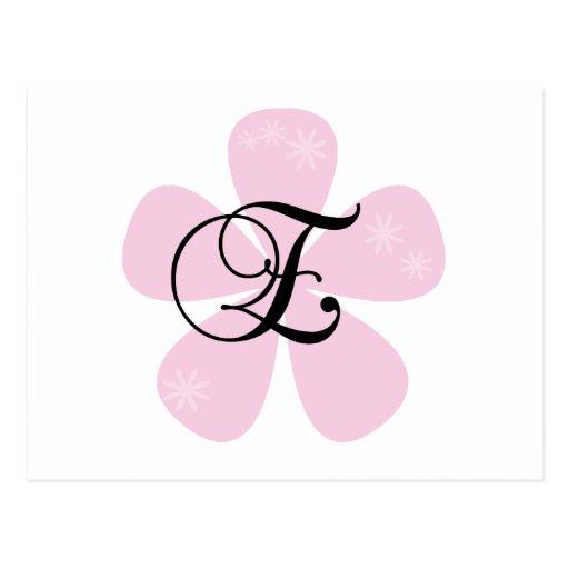 Pink Flower Monogram E Post Card