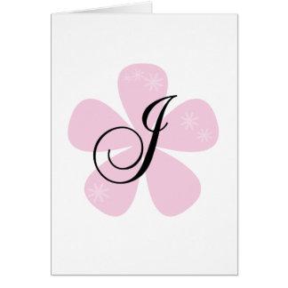 Pink Flower Monogram J Greeting Card