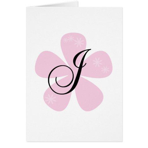 Pink Flower Monogram J Cards