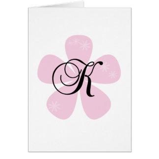 Pink Flower Monogram K Greeting Card