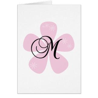Pink Flower Monogram M Greeting Card