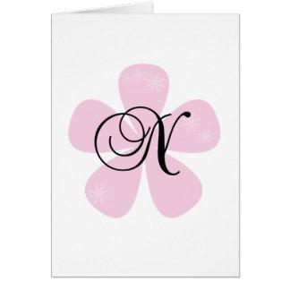 Pink Flower Monogram N Greeting Card