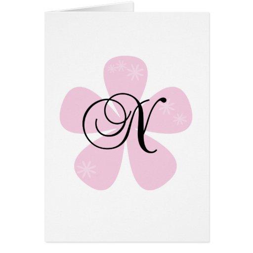 Pink Flower Monogram N Cards