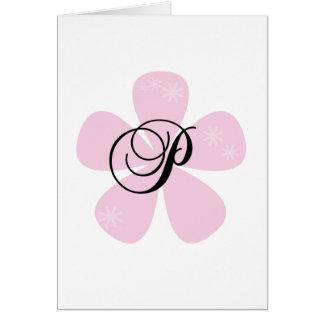 Pink Flower Monogram P Greeting Card
