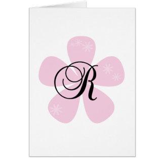 Pink Flower Monogram R Greeting Card