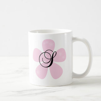 Pink Flower Monogram S Coffee Mug