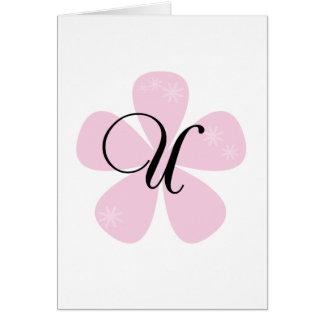 Pink Flower Monogram U Greeting Card