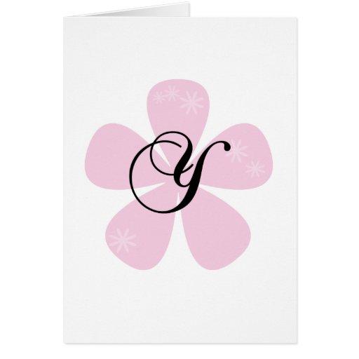 Pink Flower Monogram Y Cards
