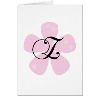 Pink Flower Monogram Z Greeting Card