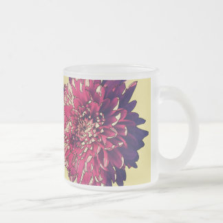 Pink Flower Frosted Glass Mug