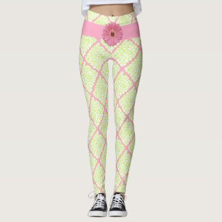 Pink Flower & Neon Green Square Shapes Leggings