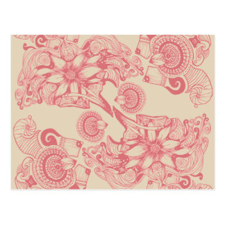 Pink Flower of Passion Pattern Postcard