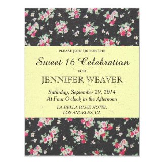 Pink Flower on Black and Pale Yellow Recycle Paper 11 Cm X 14 Cm Invitation Card