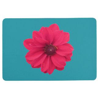 pink flower on blue floormat floor mat