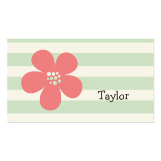 Pink Flower on Pastel Green Stripes Pack Of Standard Business Cards
