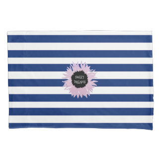 Pink Flower on Stripe Pillowcase