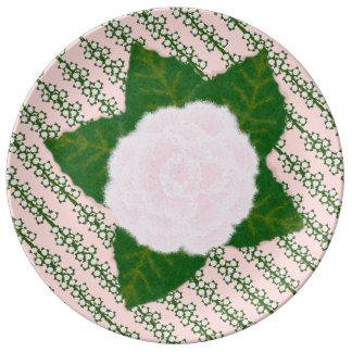 Pink Flower on Vines Porcelain Plate