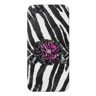 Pink Flower on Zebra iPhone 5 Case