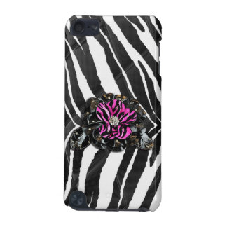 Pink Flower on Zebra iPod Touch 5G Case