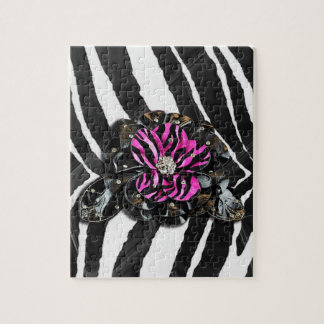 Pink Flower on Zebra Jigsaw Puzzle