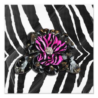 Pink Flower on Zebra Photo Art