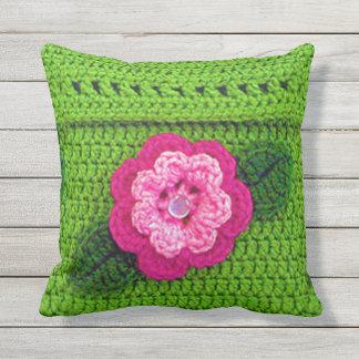 Pink Flower Outdoors Light Grass Green Crochet Outdoor Cushion