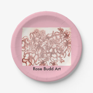 """pink flower paper plates 7"""""""