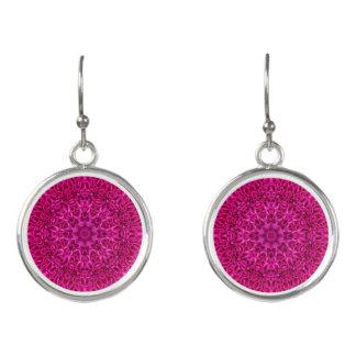 Pink Flower Pattern Drop Earrings