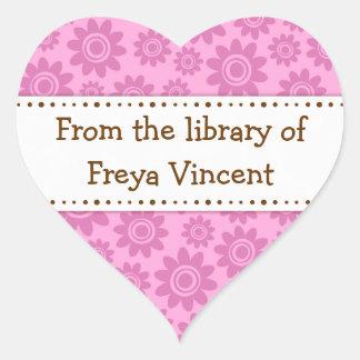 Pink flower pattern heart shaped bookplate labels heart sticker