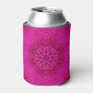 Pink Flower Pattern Kaleidoscope   Can Cooler