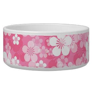 Pink Flower Pattern Large Pet Bowl
