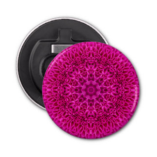 Pink Flower Pattern  Magnetic Round Bottle Opener