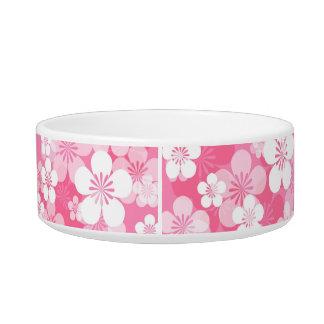 Pink Flower Pattern Medium Pet Bowl
