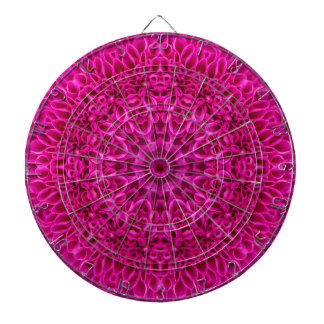 Pink Flower Pattern Metal Cage Dartboard