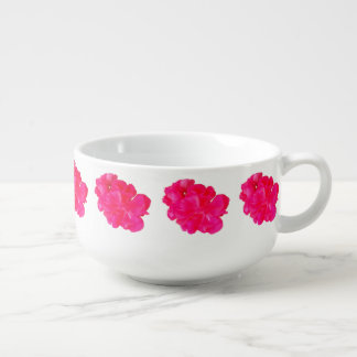 Pink Flower Pattern Soup Mug