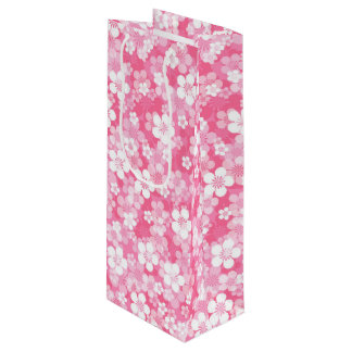 Pink Flower Pattern Wine Gift Bag