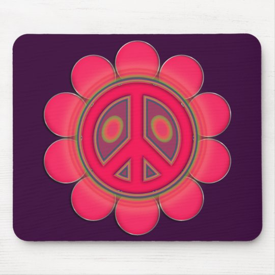 PINK FLOWER PEACE SIGN MOUSE PAD